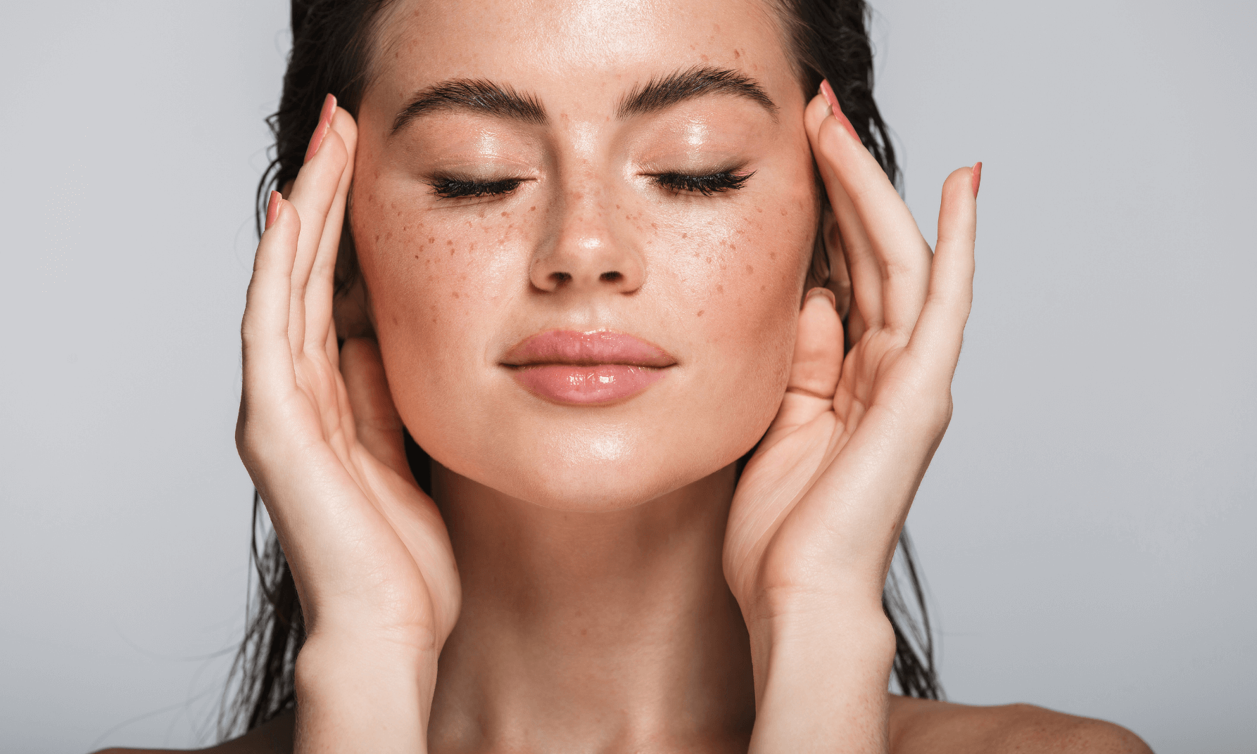 Shows clear wrinkle free skin